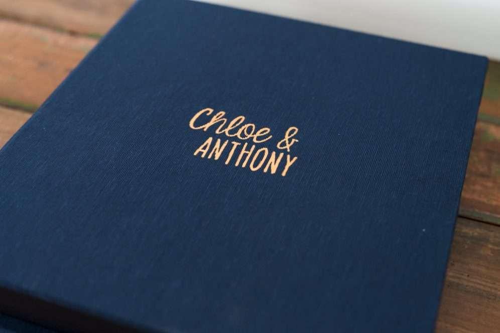 Fabric Wedding Album with Embossing - Album Cover Embossing