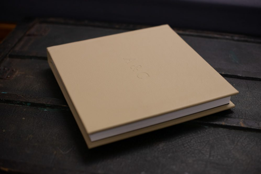 Square Leather Wedding Album in Nougat with Personalised Embossing - The Coffee Table Book Fine Art Wedding Albums 006