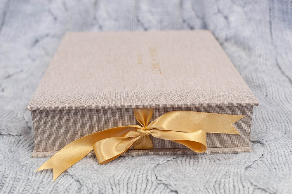 Natural Linen Wedding Album With Gold Debossing Perfect For Country Wedding Photos in the Boutique Box with co-ordinating ribbon tie
