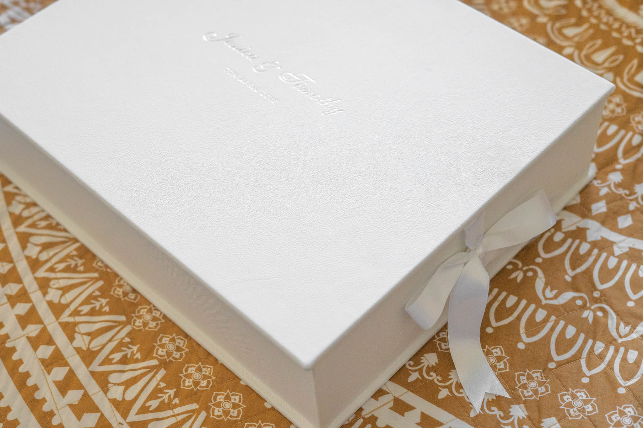 White Leather Wedding Album with Silver Emboss