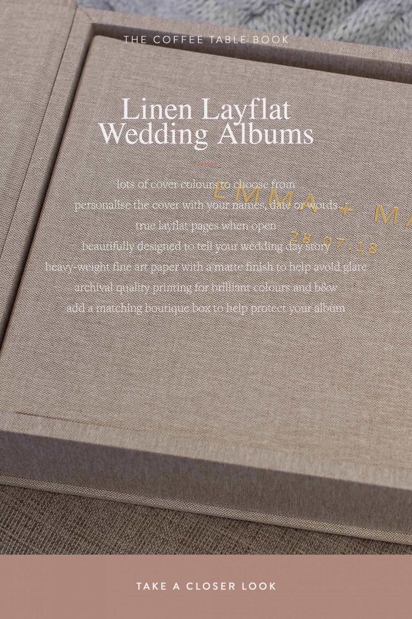 Natural Linen Layflat Wedding Album perfect for country wedding photos